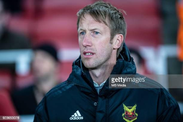 Graham Potter manager of Osterunds FK during UEFA Europa League Round of 32 match between Arsenal and Ostersunds FK at the Emirates Stadium on...