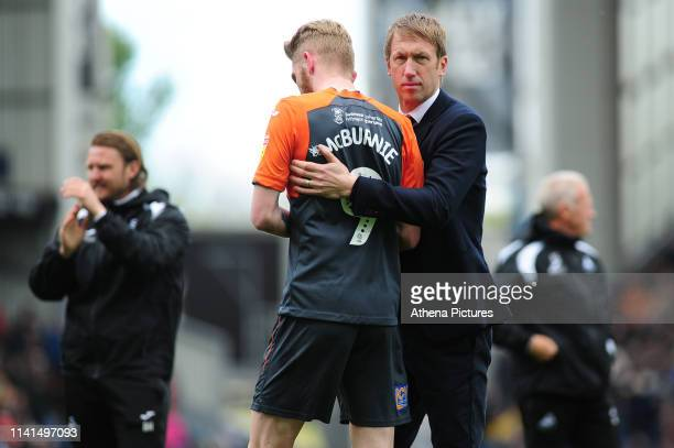 Graham Potter Manager of Swansea City and Oli McBurnie of Swansea City at full time during the Sky Bet Championship match between Blackburn Rovers...
