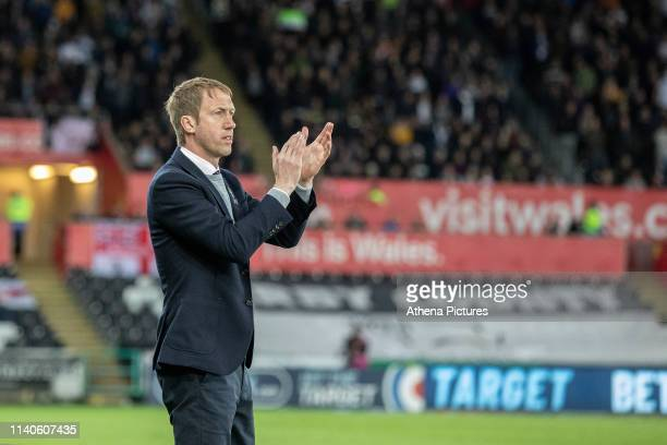 Graham Potter Manager of Swansea City during the Sky Bet Championship match between Swansea City and Derby County at the Liberty Stadium on May 01...