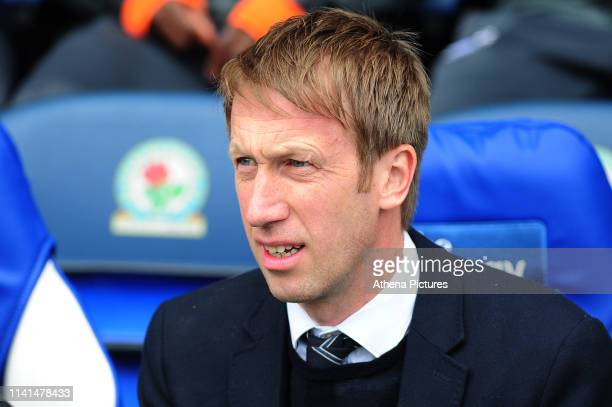 Graham Potter Manager of Swansea City during the Sky Bet Championship match between Blackburn Rovers and Swansea City at Ewood Park on May 5 2019 in...