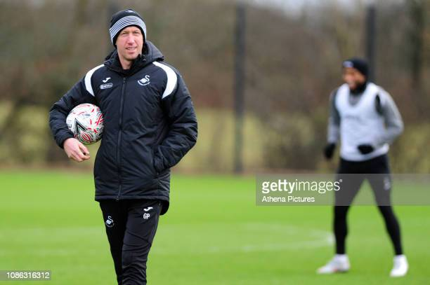 Graham Potter Manager of Swansea City in action during the Swansea City Training at The Fairwood Training Ground on January 22 2019 in Swansea Wales