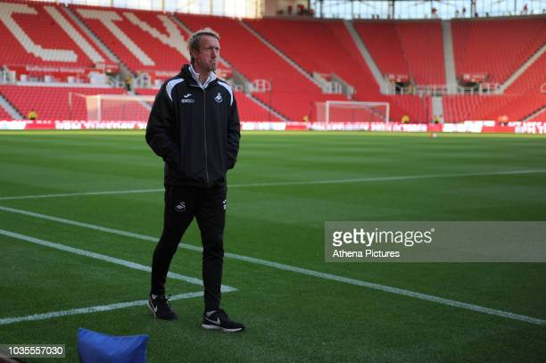 Graham Potter Manager of Swansea City looks around prior to the Sky Bet Championship match between Stoke City and Swansea City at the Bet 365 Stadium...
