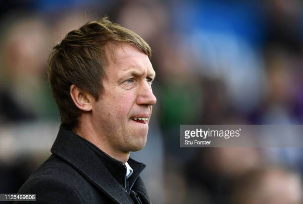 Graham Potter Manager of Swansea City looks on prior to the FA Cup Fifth Round match between Swansea and Brentford at Liberty Stadium on February 17...