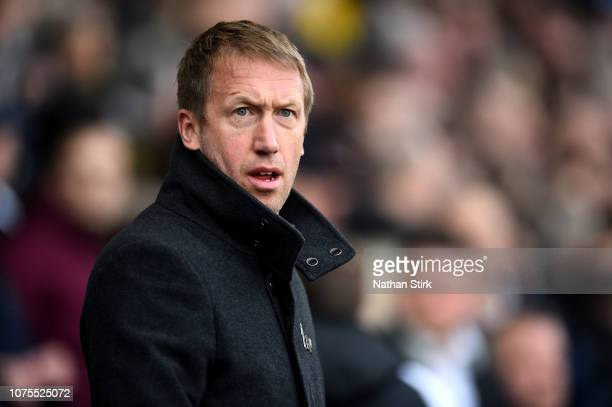 Graham Potter manager of Swansea looks on during the Sky Bet Championship between Derby County and Swansea City at Pride Park Stadium on December 01...