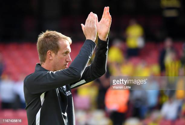 Graham Potter the Brighton Head Coach applauds his fans after the Premier League match between Watford FC and Brighton Hove Albion at Vicarage Road...