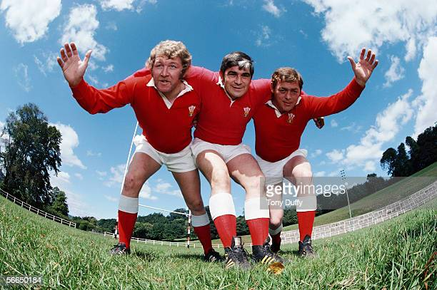 Graham Price Bobby Windsor and Charlie Faulkner of Pontypool Wales and the British Lions pose for a photocall on September 1 1978 in Pontypool Wales