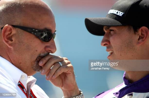 Graham Rahal driver of the NHR/Quicktrim Dallara Honda and his father Bobby Rahal during qualifying for the Indy Car Series PEAK Antifreeze and Motor...