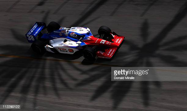 Graham Rahal driver of the Service Central Chip Ganassi Racing Dallara Honda drives during the IndyCar Series Toyota Grand Prix of Long Beach on...