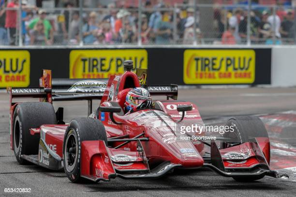 Graham Rahal driver of the Steak n Shake Rahal Letterman Lanigan Racing Honda races through a turn during the Firestone Grand Prix of St Petersburg...