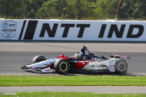 Graham Rahal driver of the TOTAL Honda drives during the IndyCar Series ABC Supply 500 on August 18 2019 at Pocono Raceway in Long Pond Pa