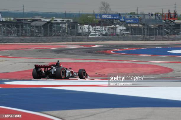 Graham Rahal of Rahal Letterman Lanigan Racing driving a Honda races through the turns during the IndyCar afternoon qualifications at Circuit of the...