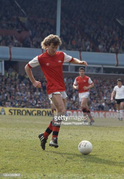 Graham Rix of Arsenal in action during the FA Cup Semi Final between Arsenal and Manchester United at Villa Park on April 16 1983 in Birmingham...