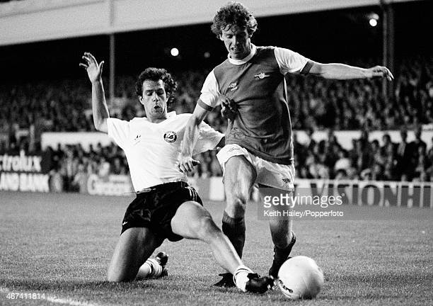 Graham Rix of Arsenal is tackled by Brian Attley of Swansea City during the League Cup 2nd round match at Highbury in London 2nd September 1980...