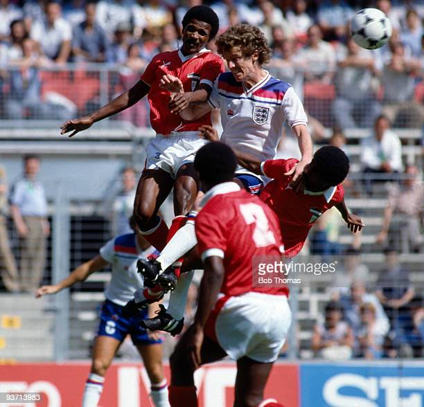 Graham Rix of England is outnumbered by the Kuwaiti defence during the England v Kuwait World Cup Finals match held at San Mames Stadium in Bilbao...