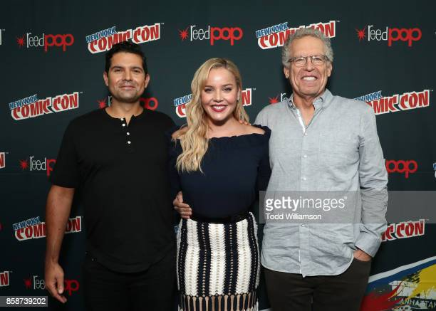 Graham Roland Abbie Cornish and Carlton Cuse attend Amazon Prime Video's Tom Clancy's Jack Ryan Comic Con 2017 Press Room at The Jacob K Javits...