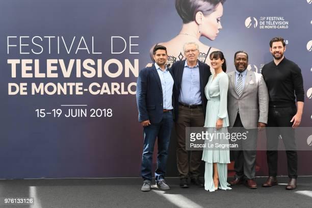 Graham RolandCarlton Cuse Dina ShibahiWendell Pierce and John Krasinski from the serie 'Tom Clancy's Jack Ryan' attend a photocall during the 58th...
