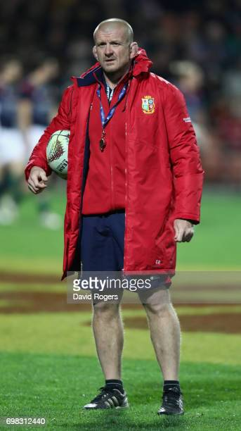 Graham Rowntree, the Lions scrum coach looks on during the match between the Chiefs and the British & Irish Lions at Waikato Stadium on June 20, 2017...