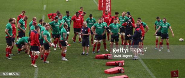 Graham Rowntree, the Lions scrum coach talks to the team during the British & Irish Lions training session at QBE Stadium on July 6, 2017 in...