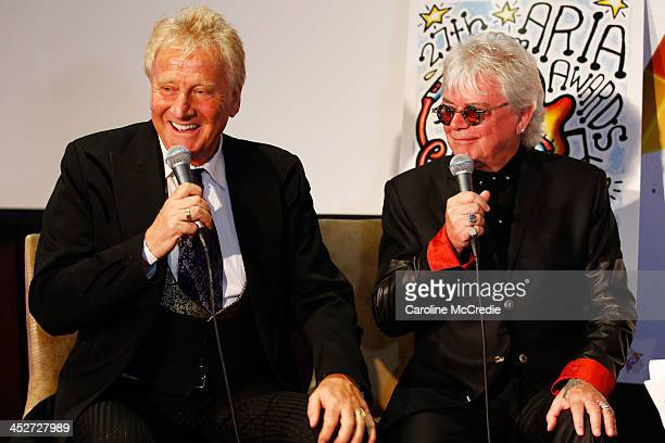 Graham Russell and Russell Hitchock of Air Supply speak to media at the 27th Annual ARIA Awards 2013 at the Star on December 1 2013 in Sydney...