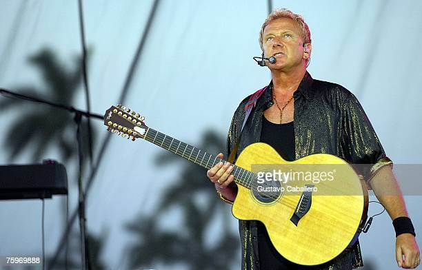 Graham Russell of rock group Air Supply performs at Gulfstream Park on August 4 2007 in Hallandale Florida