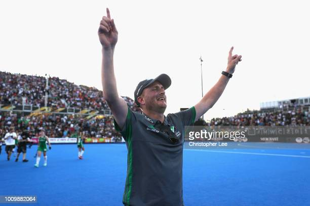 Graham Shaw of Ireland celebrates their victory during the Quarter Final game between Ireland and India of the FIH Womens Hockey World Cup at Lee...