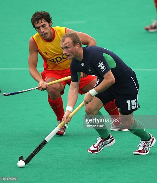 Graham Shaw of Ireland contests with Alex Fabregas of Spain during the men's match between Spain and Ireland on day two of the EuroHockey Nations...