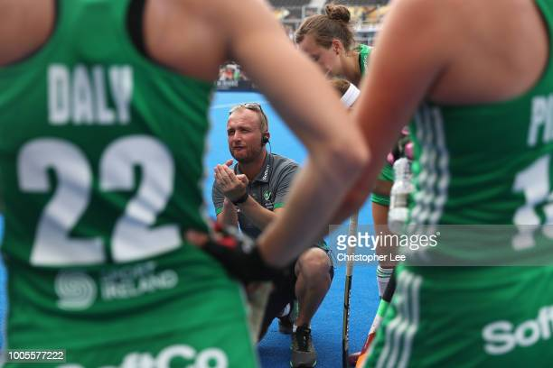 Graham Shaw of Ireland talks to his player sduring the Pool B game between India and Ireland of the FIH Womens Hockey World Cup at Lee Valley Hockey...
