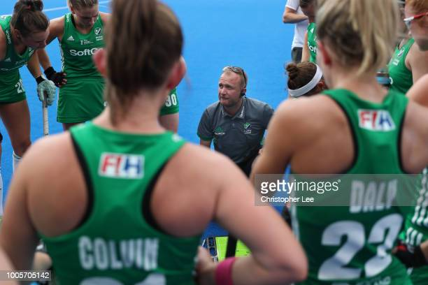 Graham Shaw of Ireland talks to his players during the Pool B game between India and Ireland of the FIH Womens Hockey World Cup at Lee Valley Hockey...