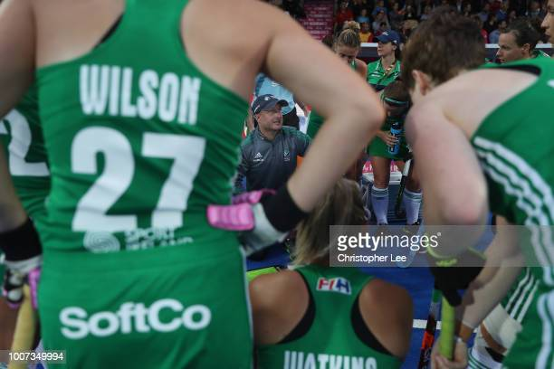 Graham Shaw of Ireland talks to his players during the Pool B game between England and Ireland of the FIH Womens Hockey World Cup at Lee Valley...