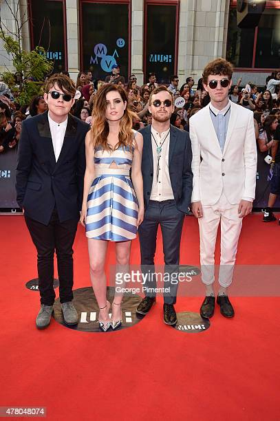 Graham Sierota Sydney Sierota Jamie Sierota and Noah Sierota of Echosmith arrive at the 2015 MuchMusic Video Awards at MuchMusic HQ on June 21 2015...