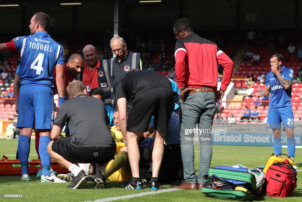 Graham Stack of Eastleigh gets treatment for an injury during the National League match between Leyton Orient and Eastleigh at The Matchroom Stadium on August 26, 2017 in London, United Kingdom.