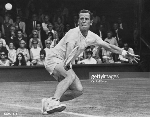 Graham Stilwell of Great Britain reaches to make a backhand return against Thomaz Koch of Brazil during their Men's Singles Davis Cup Inter Zone Semi...