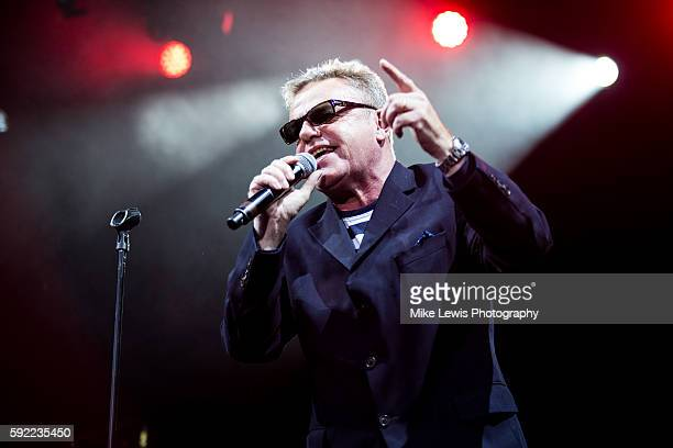 Graham 'Suggs' Mcpherson of Madness performs at Cyfarthfa Castle on August 19 2016 in Merthyr Tydfil Wales