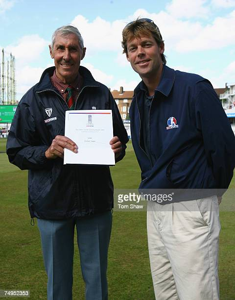 Graham Tappin of Kent CBCA receives an award from Nick Knight of Sky Sports during the International Twenty20 match between England and the West...