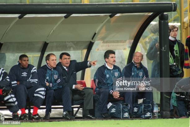 Graham Taylor, Former England Manager on the bench with Phil Neal and Carlton Palmer