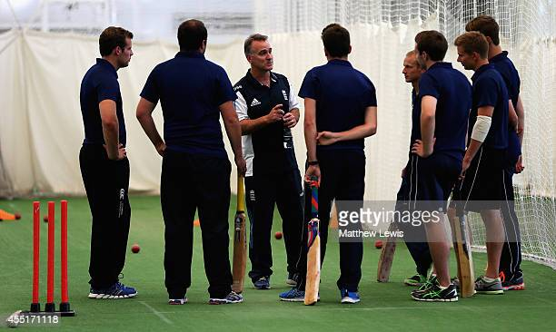 Graham Thopre talks with the ECB Young Coaches of the Year during the ECB Young Coach of the Year Awards at the National Cricket Performance Centre...
