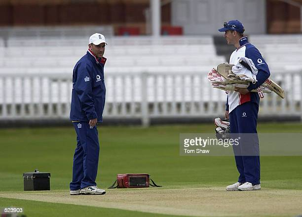 Graham Thorpe and John Crawley of England check out the wicket during the England Nets session at Lord's in London on May 15 2002 England are...