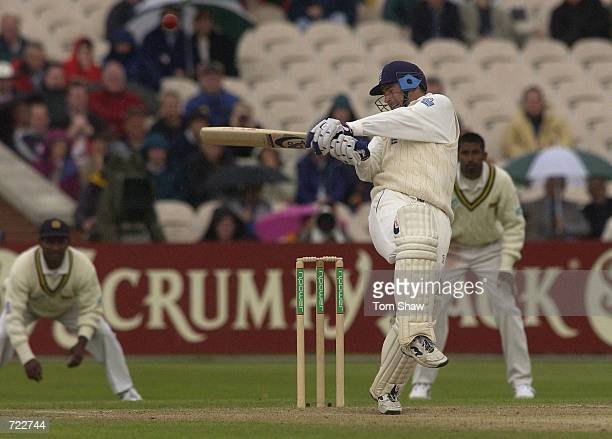 Graham Thorpe for England smashes the ball during the npower 3rd Test Match at Old Trafford Cricket Ground Manchester Great Britain on June 13 2002