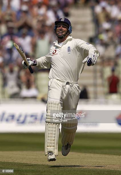 Graham Thorpe of England celebrates getting his century score during the 2nd Npower Test Match between England and Sri Lanka at Edgbaston Birmingham...