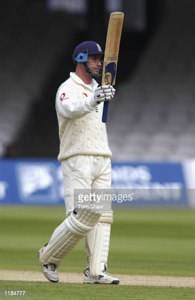 Graham Thorpe of England celebrates his fifty during the fifth day of the first Test Match between England and Sri Lanka played at Lord's in London...