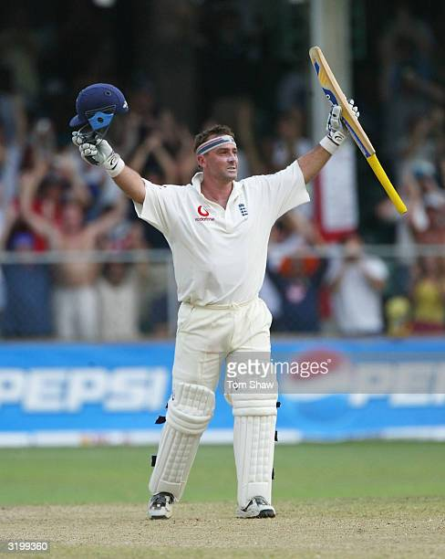 Graham Thorpe of England celebrates reaching his century during day two of the 3rd Test match between the West Indies and England at the Kensington...