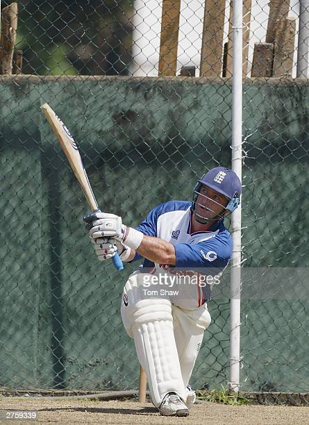 Graham Thorpe of England has a bat in the nets during the England nets session at the Singhalese Sports Club on November 25 in Colombo Sri Lanka