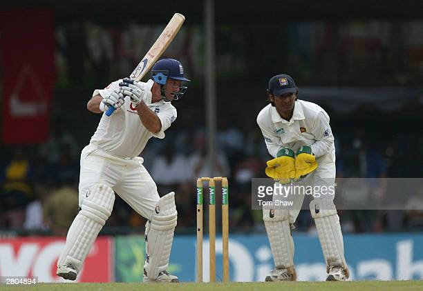 Graham Thorpe of England hit out during the third day of the Second Test between Sri Lanka and England at the Asigiriya Stadium on December 12 2003...