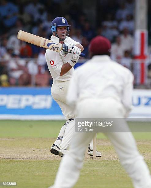 Graham Thorpe of England hits out during day two of the 3rd Test match between the West Indies and England at the Kensington Park Oval cricket ground...