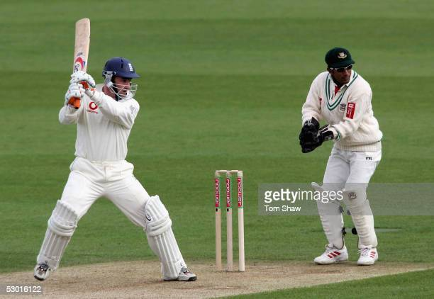 Graham Thorpe of England hits out during the 2nd Npower Test match between England and Bangladesh at the Riverside Ground on June 3 2005 in...