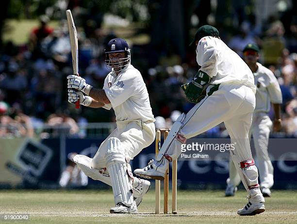 Graham Thorpe of England hits out on his way to making fifty runs during the fourth day of the second Test Match between South Africa and England at...