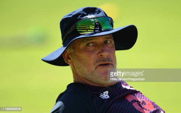 Graham Thorpe of England looks on during a training session at St George's Park before the third Test Match between England and South Africa on...