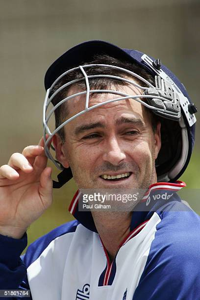 Graham Thorpe of England looks on during England Nets practice at St. Georges Park Cricket Ground on December 15, 2004 in Port Elizabeth, South...