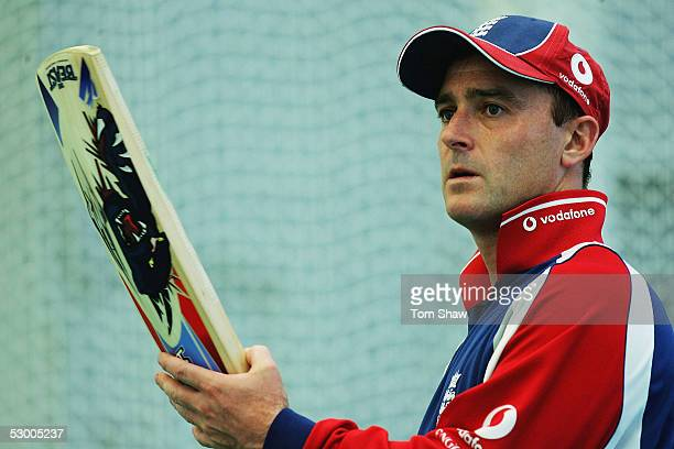 Graham Thorpe of England looks on during the England nets session prior to the 2nd Npower Test match between England and Bangladesh at the Riverside...