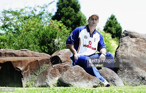 Graham Thorpe of England sits outside the team hotel following a press conference at the team hotel on December 14, 2004 in Potchefstroom, South...